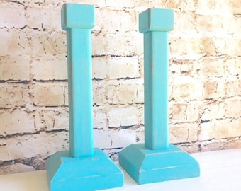 Pair of Turquoise Wood Candlesticks Farmhouse Stlye Candle Holders 2 Two Shabby Chic Distressed Rustic