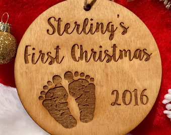 Personalized Baby's First Christmas Ornament - Baby Footprints, Wood Ornament, Baby Gift, Baby Shower, Baby Girl, Baby Boy, Newborn Keepsake