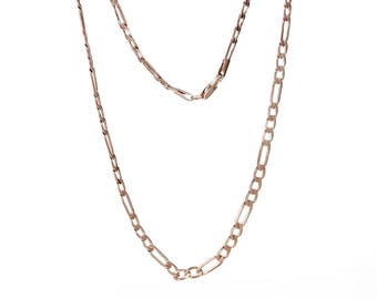 """1 Rose Gold Plated Copper 3:1 Figaro Link Curb Chain Necklace 21 5/8"""" (B191b)"""