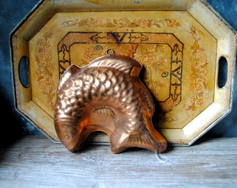 Copper Fish Mold: Vintage Jelly Mold, Kitchenware Wall Hanging, Cottage Chic, French Country Rustic, Farmhouse Decor