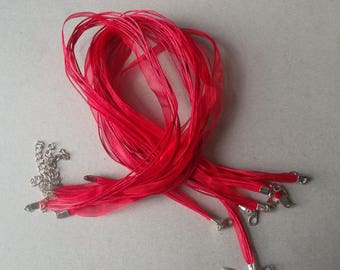 x 10 bright 43 cm red waxed cotton thread and organza Ribbon necklaces