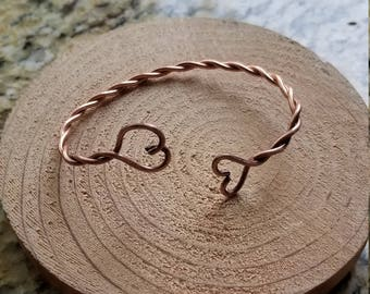 Pure Copper Wire Twist Cuff Bracelet Handmade With Heart