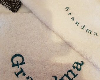 Grandma embroidered white towel set includes 1 hand towel and 1 face personalised