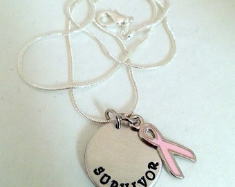 Cancer Survivor Hand Stamped Custom Silver necklace with ribbon charm