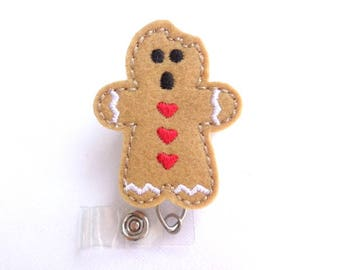 Christmas holiday badge holder retractable - Gingerbread Man with bite - tan felt - nurse badge reel medical staff
