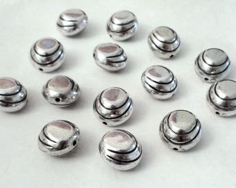 Set of 5 large spacer beads / spacer, round, curved, stripes