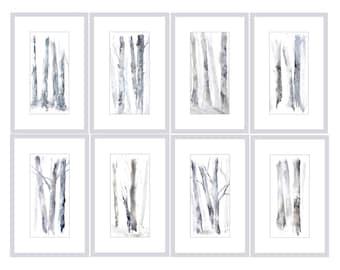 Set of 8 Prints, Watercolor Set, Tree Watercolor Print, Groupings, Grey White Print, Wall Art Set of Art, Set of Prints, Matching Artwork