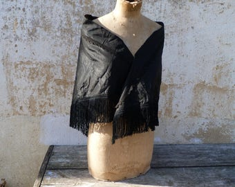Vintage Antique Victorian 1890s French  scarf shawl black silk and fringes