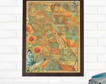 Vintage California Map Art, Lithograph, California Wall Map Art