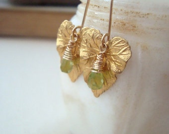 Ivy Leaf Earrings Lime Green Peridot Gold Nature Inspired August Birthstone Gifts Under 40 Art Nouveau Gemstone Jewelry