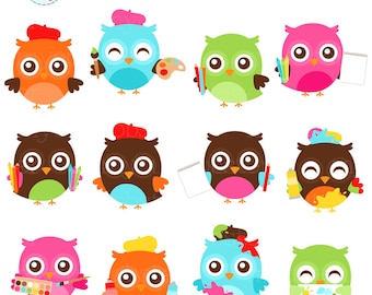 Artist Owls Clipart Set - clip art set of cute owls, art, painting, drawing, artists - personal use, small commercial use, instant download