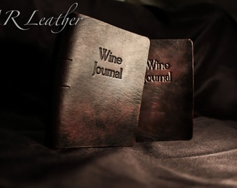 Handmade Leather Wine Journal-customized with initials