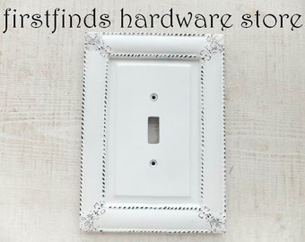 Light Switch Plate Cover Shabby Chic White Electrical Framed Painted Cottage Decor Wood Metal Single Toggle Screw Included DESCRIPTION BELOW