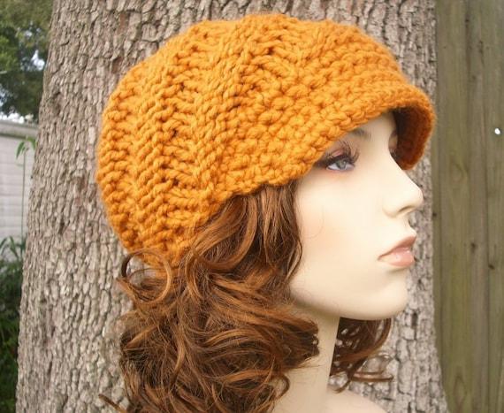 Knit Hat Womens Hat Orange Newsboy Hat - Swirl Beanie with Visor in Apricot Orange Knit Hat - Orange Hat Orange Beanie Womens Accessories