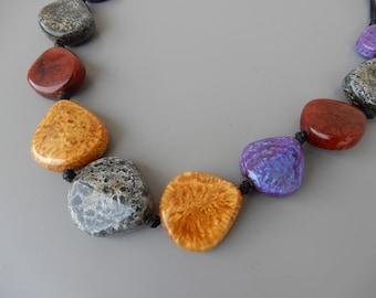 Statement Necklace big beads Resin Lucite multicolor jewellery big stones boho bohemian
