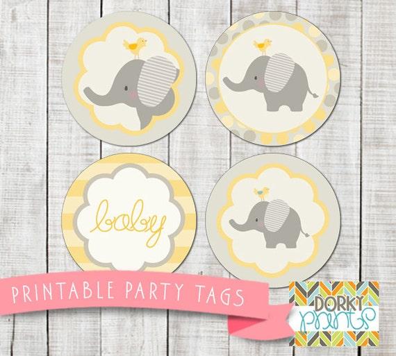 Yellow Elephant Baby Shower Printable Circle Tags PDF Printable
