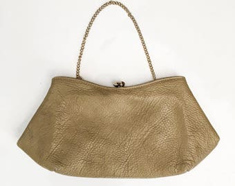 1950s 1960s Taupe Leather Small Handbag // Mid Century Handbag Clutch // 50s 60s Tan Beige Leather Small Handbag Chain Clutch