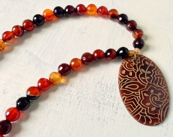 CLEARANCE Red Agate Necklace