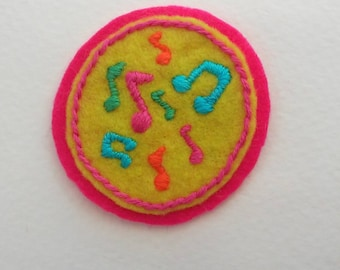 Music Note Neons Badge (patch, pin, brooch, or magnet)
