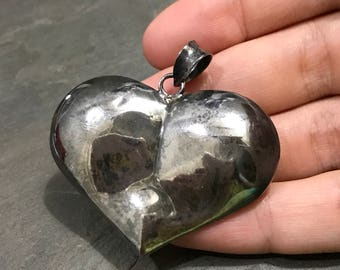 Vintage sterling silver handmade pendant, 3D heart shaped Mexican 925 silver pendant, stamped 925 Mexico, dented on the back