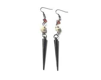 Halloween Earrings Day of the dead Jewellery Spike Earrings Long earrings  Skull Red white Black