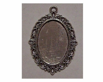 setting for stones setting for cabochons  Antique Silver 25x18 Cameo Setting flat back cabochon mount 522x