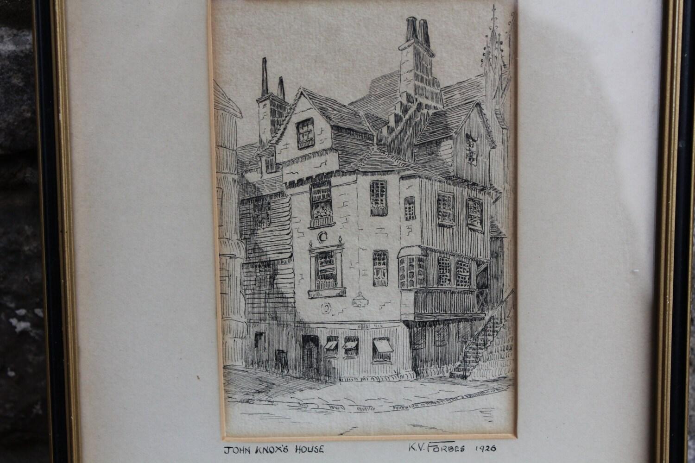 Antike Zeichnung Skizze John Knox Haus von k.v. Forbes 1926