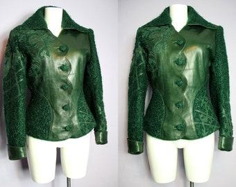 Sale /// Unique JEAN CLAUDE JITROIS Paris Green Boucle Wool Leather Filigree Applique Embroidery Fitted Jacket M