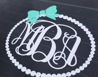 Monogram Car Decal Etsy - Monogrammed custom vinyl decals for car