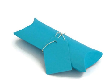 6 Blue Pillow Boxes - turquoise blue - aqua blue - gift boxes - small gift box - jewelry box - favor box - party favor - jewelry packaging