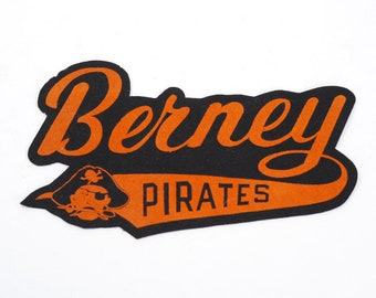 Vintage Berney Pirates Varsity Patch - 1940s - Walla Walla WA - Letter Sweater Letters - Felt Patch - Glee Club or Cheerleader Patch