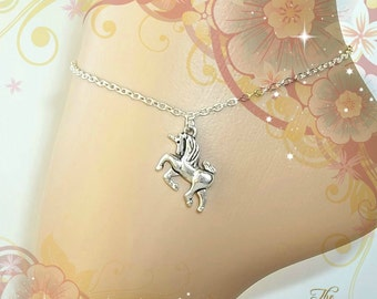 Unicorn Anklet, Ankle Chain, Ankle Bracelet, Silver Anklet, Boho Anklet, Horse, Fantasy Animal, Foot Jewellery, Body Jewelry, Beach Jewelry