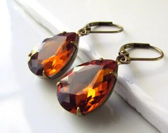 Topaz Glass Earrings, Vintage Style Earrings, Mocha Glass, Coffee Brown, Teardrop Earrings, Antiqued Brass, Fall Wedding, Bridesmaid Jewelr