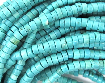 "4mm blue turquoise heishi beads 16"" strand S2 35289"