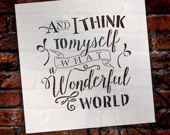 Wonderful World - Fun Style - Word Art Stencil - Select Size - STCL1870 - by StudioR12