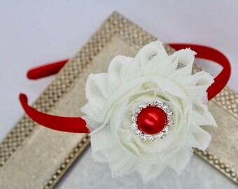 Red flower headband, red Valentines headband, ivory and red headbands, kids headband, kids hair accessory, red shabby flower headband