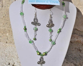 Green and transparent beads parure