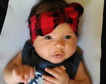 Black Red Plaid Headband, Baby Girl Headband, Knot Headband, Knotted Bow Headband, Cotton Spandex Knit Knot Headband