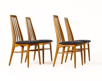 "Danish Modern / Mid Century ""Eva"" Dining Chairs — Niels Koefoed — Teak Frames — Set of Four"