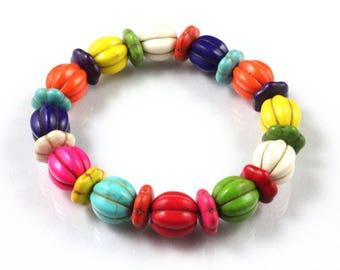 Multicolor Magnesite Bracelet, Melon Beads, Multicolor Beads, Stretch Bracelet, Cinco de Mayo, Festival, Tropical