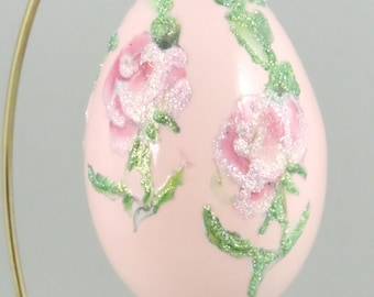 Pink Roses, Spring Flowers, Roses Ornament, Rose Decor, Easter Egg, Mothers Day, Gift Idea for Women, Easter Egg, Faberge Decorated Egg