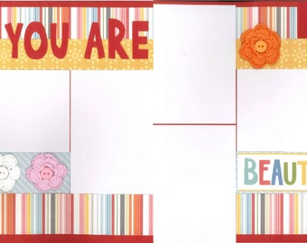 12x12 YOU ARE BEAUTIFUL scrapbook page kit, premade scrapbook, 12x12 premade scrapbook page, premade scrapbook pages, 12x12 scrapbook layout