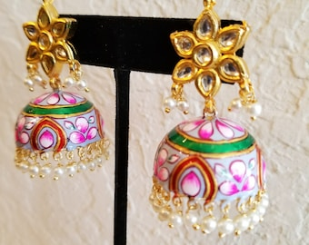Petal Pink Painted Gold Plated Small Dangling Fashion Earrings for Party or Wedding