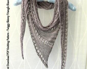 PDF Knitting Pattern Instant Download - Twiggy Skinny Triangle Shawl Scarf