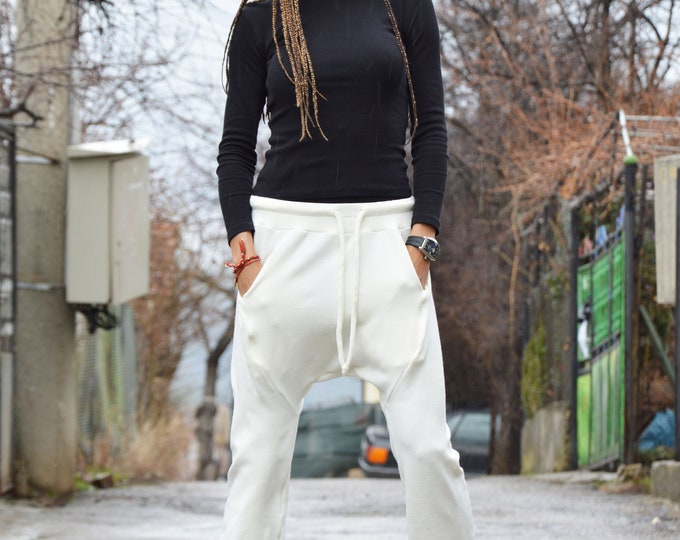 Loose Casual Off White Drop Crotch Pants, Unisex Elegant Knit Trousers, Low Bottom Harem Pants by SSDfashion