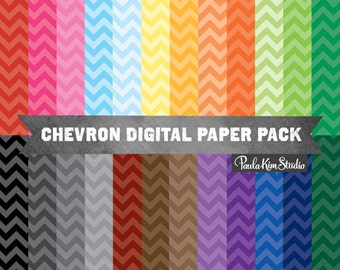 Bright Chevron Digital Paper Pack Instant Download Commercial Use Clipart