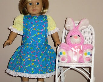 """Handmade Doll Clothes fits/for 18 inch American Girl Doll ~ """"Circles"""" Blue, Yellow, Green & Pink Circles and Swirls Print Drop Waist Dress"""