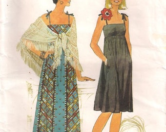 Simplicity 7468 Sewing pattern, misses' dress pattern, shawl pattern, size 10 dressmaking pattern, 70s seventies 1970s retro vintage pattern