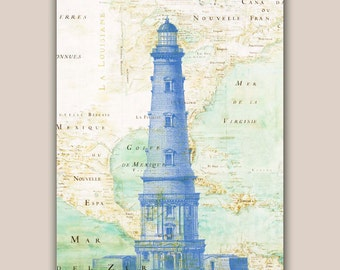 Blue Lighthouse Print, 11X14 print, old map Mexico golf print,  Seaside Decor, Marine  Nautical art, Coastal Living,