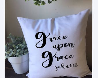 White Pillow Cover, Grace Upon Grace, Wedding Gift, Cotton Pillow Cover, 16x16 Pillow Cover, Decorative Pillow Cover, Nursery Decor